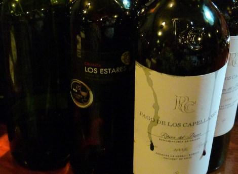 Los tres vinos tintos.