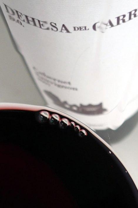 Detalle de la lágrima de este vino.