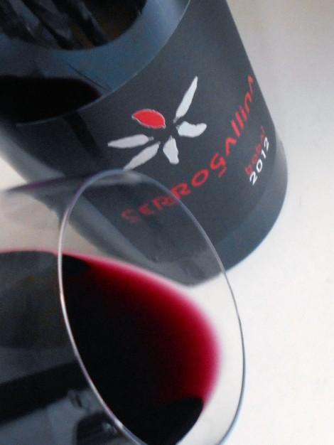 Detalle del color del vino Cerrogallina Bobal.