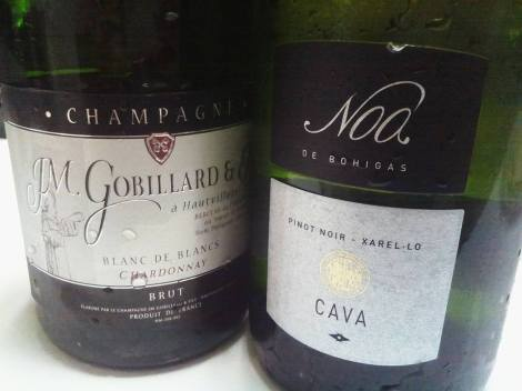 El Champán JM. Gobillard et Fils Blanc de Blancs VS el Cava Noa de Bohigas.