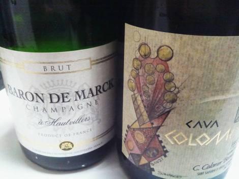 Champán Baron de Marck VS Cava Colomer Brut de Autor.
