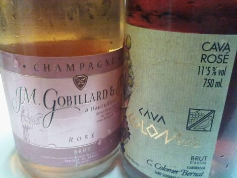 El champán JM. Gobillard et Fils Rosé Brut contra el cava Colomer Brut de Autor Rosé.