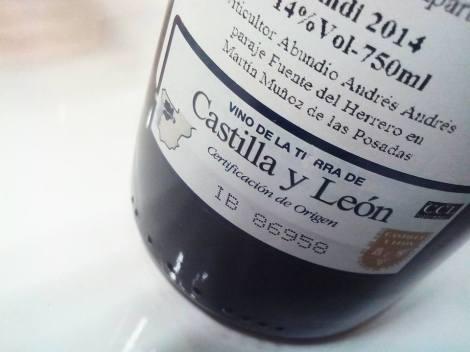 Vino acogido a la V.T. Castilla y León.