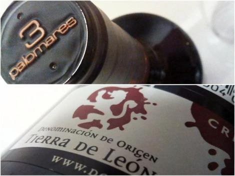 Detalle del etiquetado de la botella de 3 Palomares Crianza.