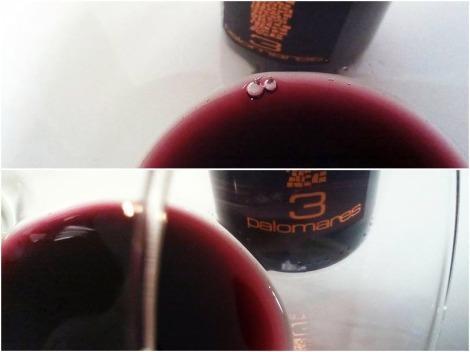 Detalles del color del vino 3 Palomares Crianza.