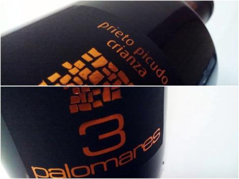 Detalles del etiquetado del vino 3 Palomares Crianza.