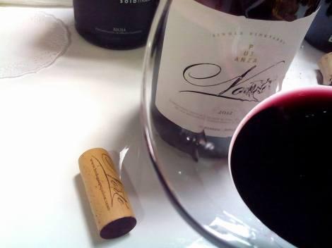 Detalle del vino Pujanza Norte 2012 en la copa.