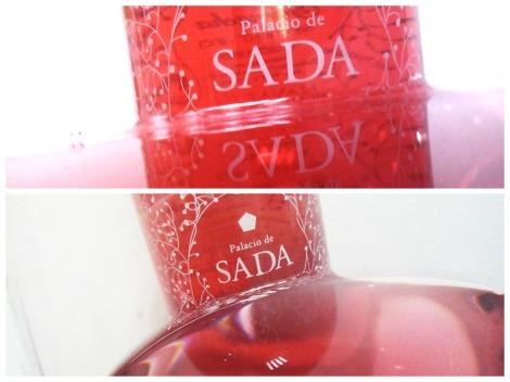 Detalles del vino Palacio de Sada Rosado en la copa.