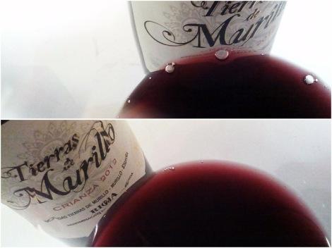 Detalles de la lágrima del vino y de su opacidad en la copa.