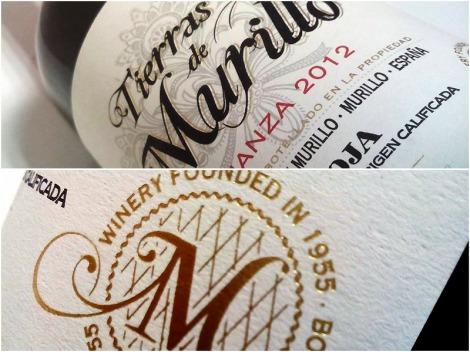 Detalle del etiquetado frontal del vino Tierras de Murillo Crianza.