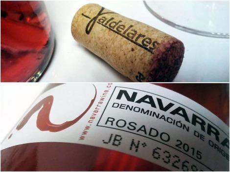Detalles del corcho y contra-etiqueta de Valdelares Rosado Expresión 2015.