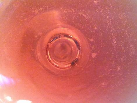 "Detalle de la ""aguja"" en la copa del vino 3 Palomares Rosado."