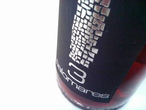 Detalle del etiquetado del vino 3 Palomares Rosado.