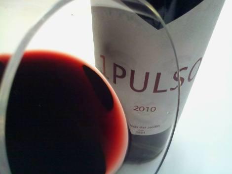 Detalle, de nuevo, del vino 1 Pulso en la copa.