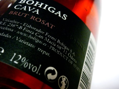 Detalle de la contra-etiqueta del cava Bohigas Rosado Brut.