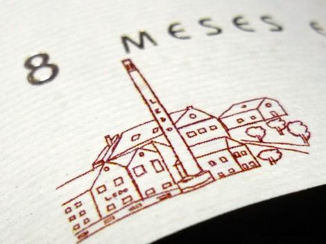 La fábrica como detalle en el etiquetado del vino Ledo.8 Crianza 2012.