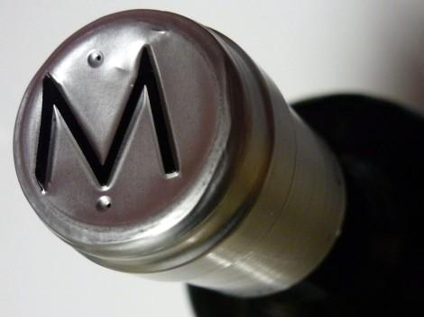 Detalle de la cápsula de la botella de Malaparte 2009.