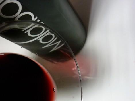 Detalle del ribete del vino Malaparte 2009.