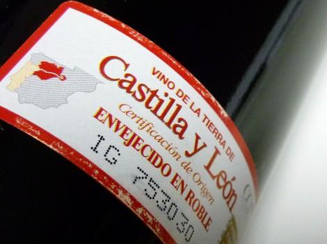 Detalle del sello de la V.T. Castilla y León en la botella de Malaparte 2009.