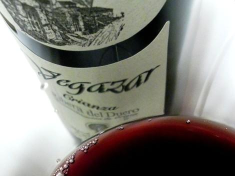 Detalle del color del vino Vegazar Crianza.