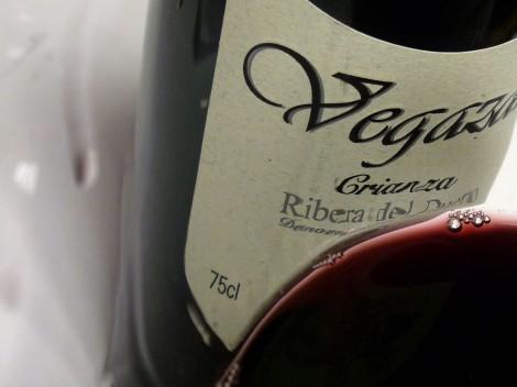 Detalle de la lágrima del vino Vegazar Crianza.