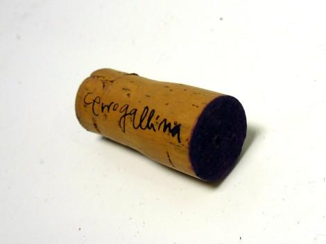 Detalle del tapón de corcho del vino Cerrogallina 2013.