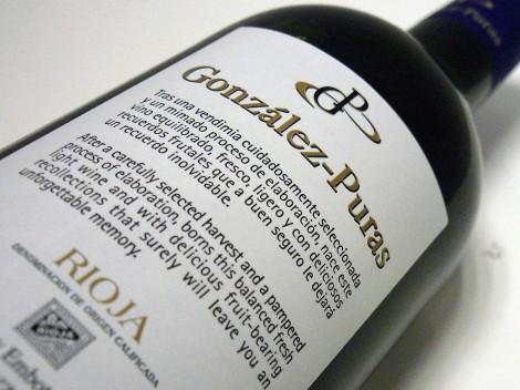 Detalle de la contra-etiqueta del vino González Puras Maceración Carbónica.