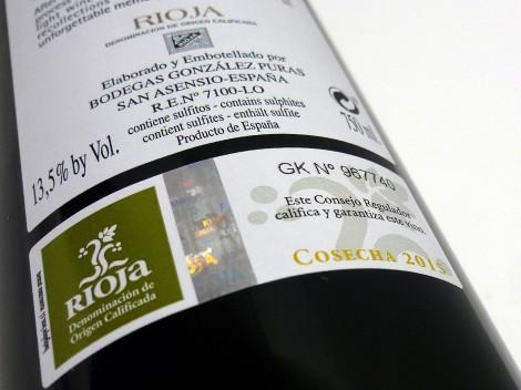 Sello de la D.O.Ca. Rioja en la botella de González Puras Maceración Carbónica.