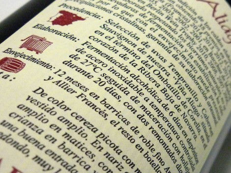 Contra-etiqueta del vino Aliaga Colección Privada 2012.