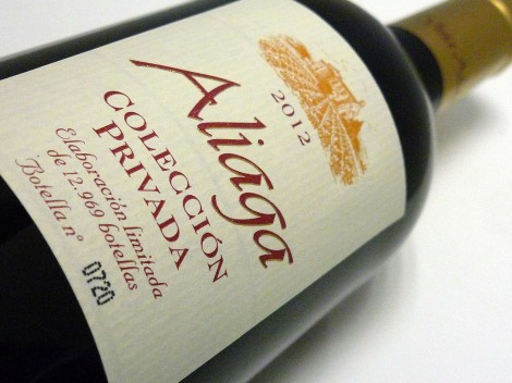 Etiqueta del vino Aliaga Colección Privada 2012.