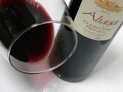 El ribete del vino Aliaga Colección Privada 2012.