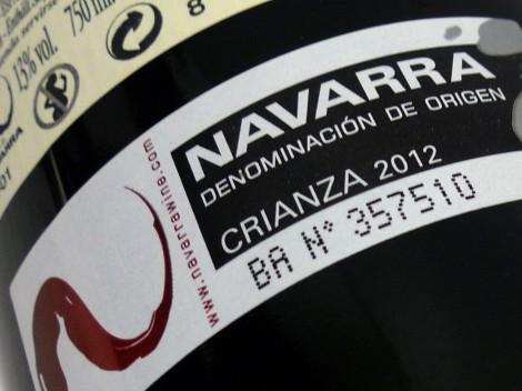 Sello de la D.O. Navarra en la botella de Aliaga Colección Privada 2012.