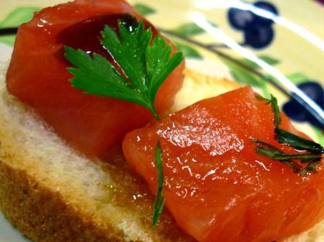 Detalle del salmón con miel de romero.