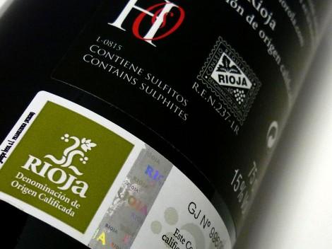 Sello de la D.O.Ca. Rioja en la botella de Horola Garnacha 2014.