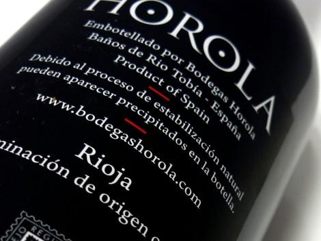 Detalle de la contra-etiqueta del vino Horola Tempranillo.
