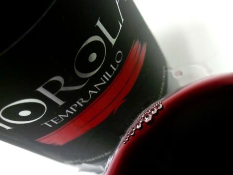 Detalle de la lágrima del vino Horola Tempranillo 2014.