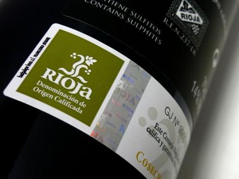 Sello de la D.O.Ca. Rioja en la botella de Horola Tempranillo.
