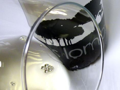 Detalle del ribete del vino Las Lomas Blanco 2014.