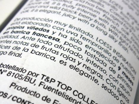 Detalle de la contra-etiqueta del vino Loess Inspiration 2013.