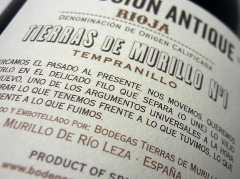 Contraetiqueta del vino Colección Antique Nº1.