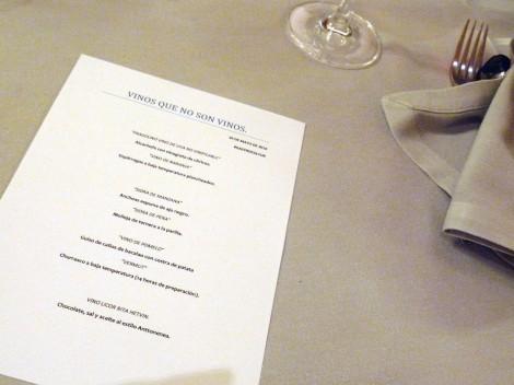 El menú de la cena - maridaje: Vinos que no son vinos.
