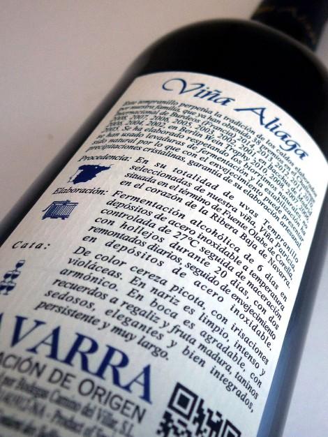 Contra-etiqueta del vino Aliaga Patricia 2014.