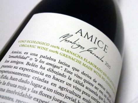 Contra-etiqueta del vino Amice Masatrigos Garnacha.