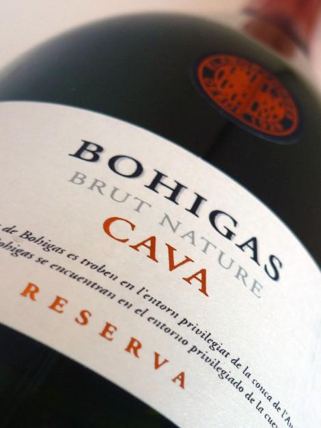 Etiquetado del cava Bohigas Reserva Brut Nature.