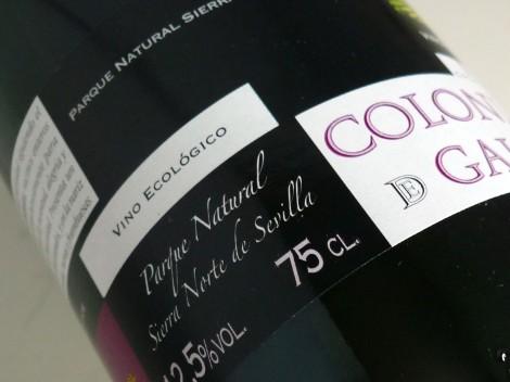 Detalle del etiquetado del vino Colonias de Galeón Maceración Carbónica.