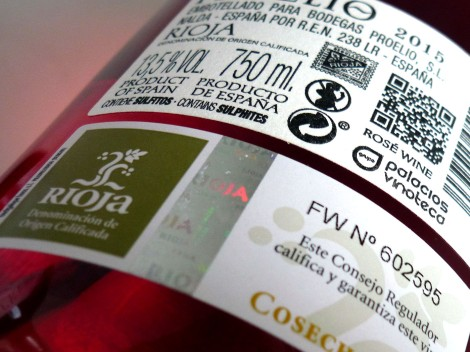 Contra-etiqueta de Proelio Rosado Graciano.