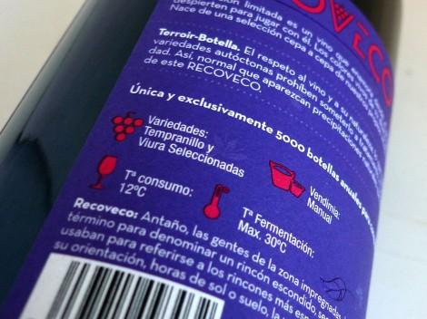 Detalle de la contra-etiqueta del vino Recoveco Edición Limitada.