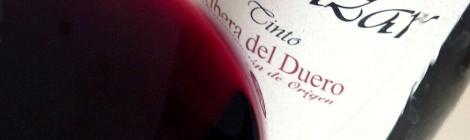 Detalle de la lágrima del vino Vegazar Tinto Joven 2015.