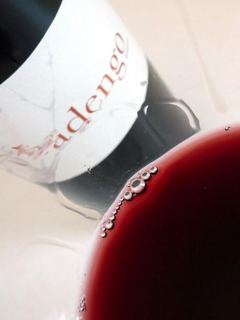 Detalle de la lágrima del vino Abadengo Reserva.