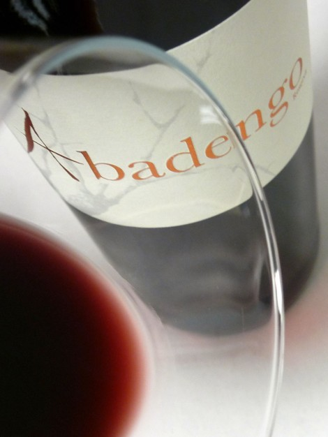 Detalle del ribete del vino Abadengo Reserva.